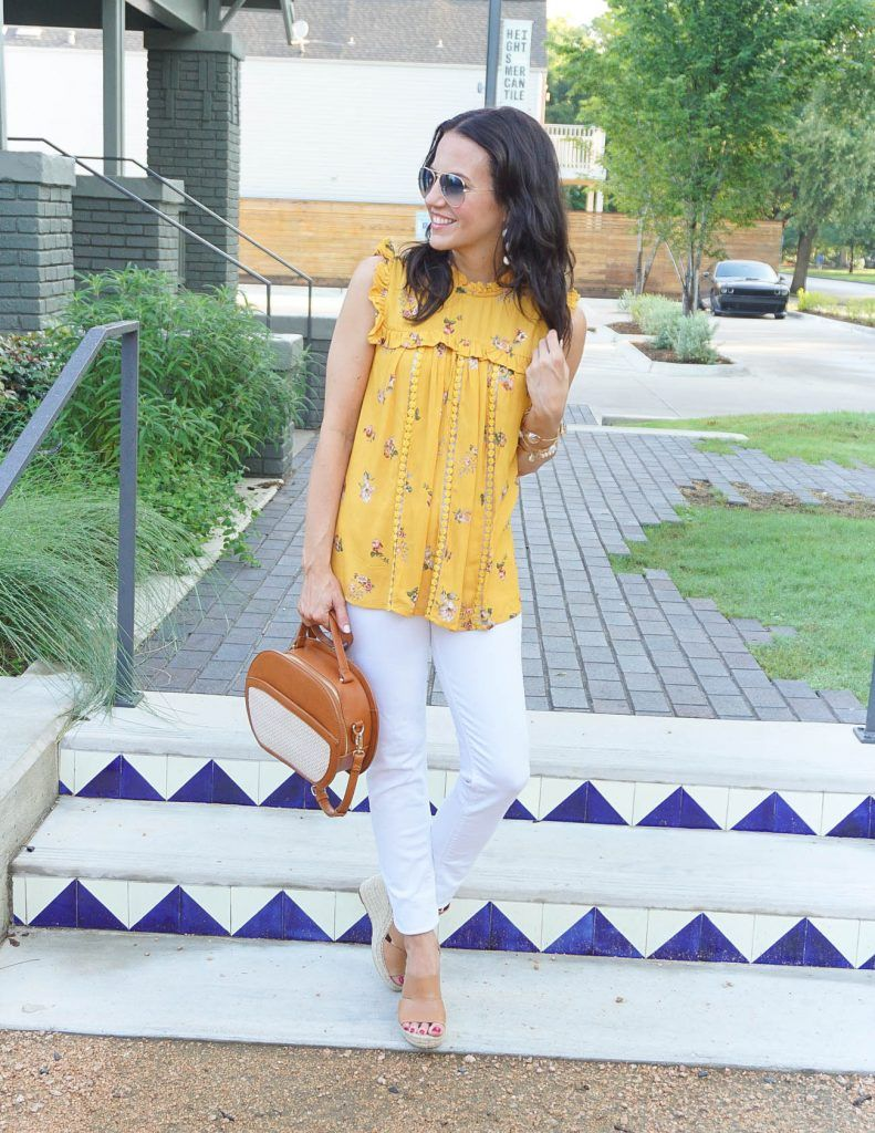 b28e1e63461049 Summer Outfit   Yellow Floral Top   White Denim   Houston Fashion Blogger  Lady in Violet