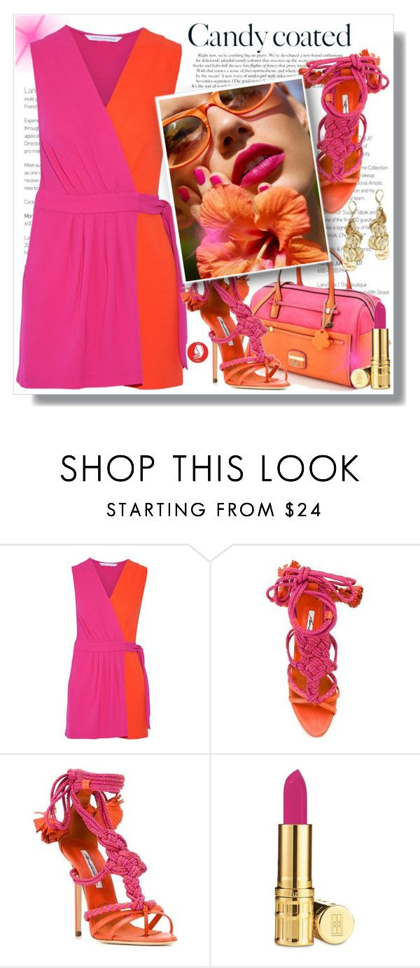 """""""Orange & Pink Candy Coated"""" by queenvirgo ❤ liked on Polyvore featuring Diane Von Furstenberg, Brian Atwood and Elizabeth Arden"""