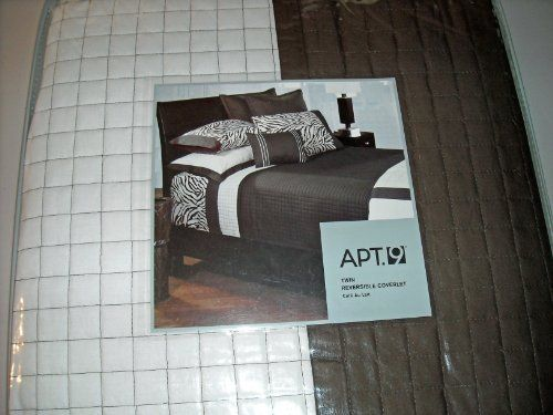 Apt 9 Cafe Au Lait Twin Reversible Coverlet Brown White By Apt 9