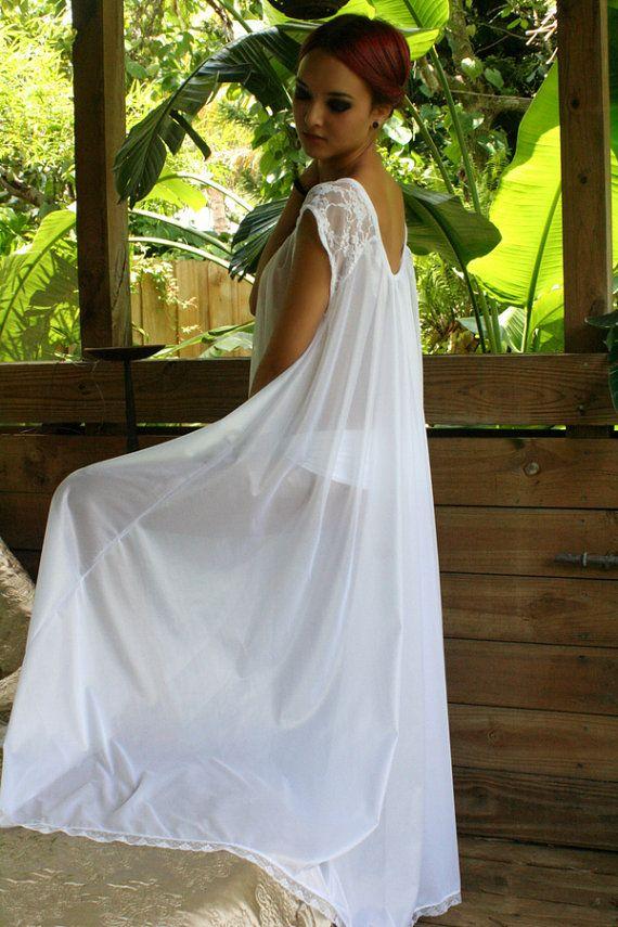 bb95b6dde0 White Full Swing Nightgown Romantic Lingerie Bridal Wedding Lace Cap ...