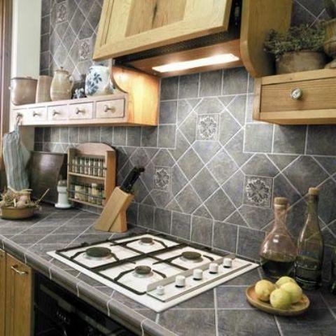 Encimeras de azulejos para la cocina decoracion Pinterest