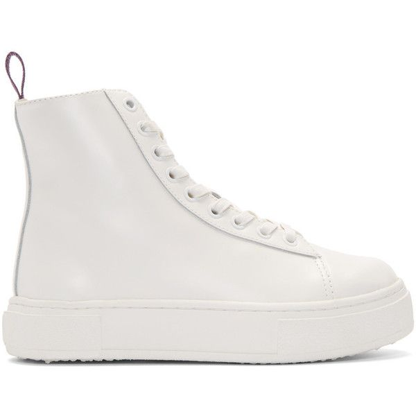 Eytys White Kibo High-Top Sneakers featuring polyvore, women's fashion, shoes, sneakers, white, high top platform sneakers, eytys sneakers, high top sneakers, white high tops and white trainers