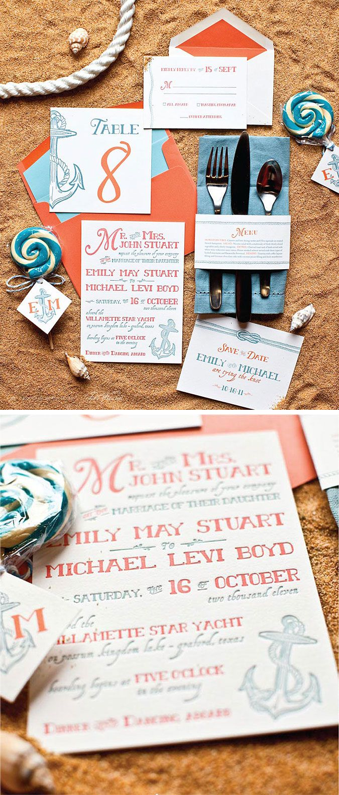 Nautical letterpress wedding invitation wedding ideas pinterest