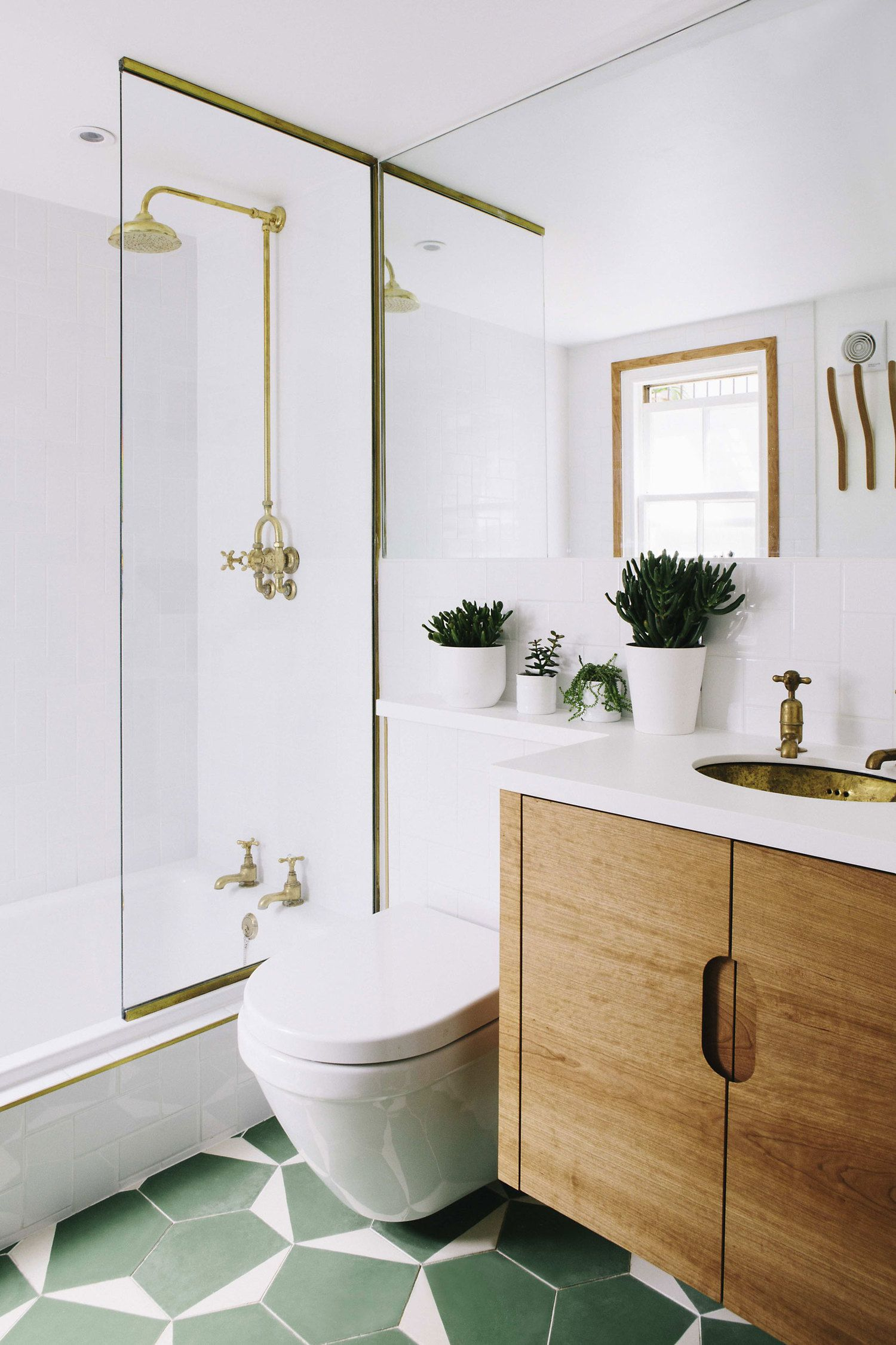 Local joiner, floating bathroom cupboard, white tiles, colourful ...