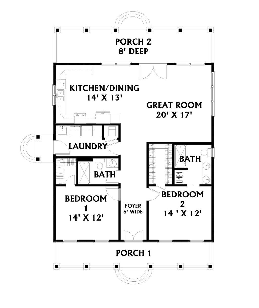 Two Bed Two Bath House Plans Cottage Country Farm House Cape Cod 1292 Sq Ft 2 Bed W Bath