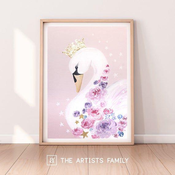 Photo of Swan Downloadable Prints Nursery Decor Printable Art Painting Illustration Modern Wall Art Kids Girl