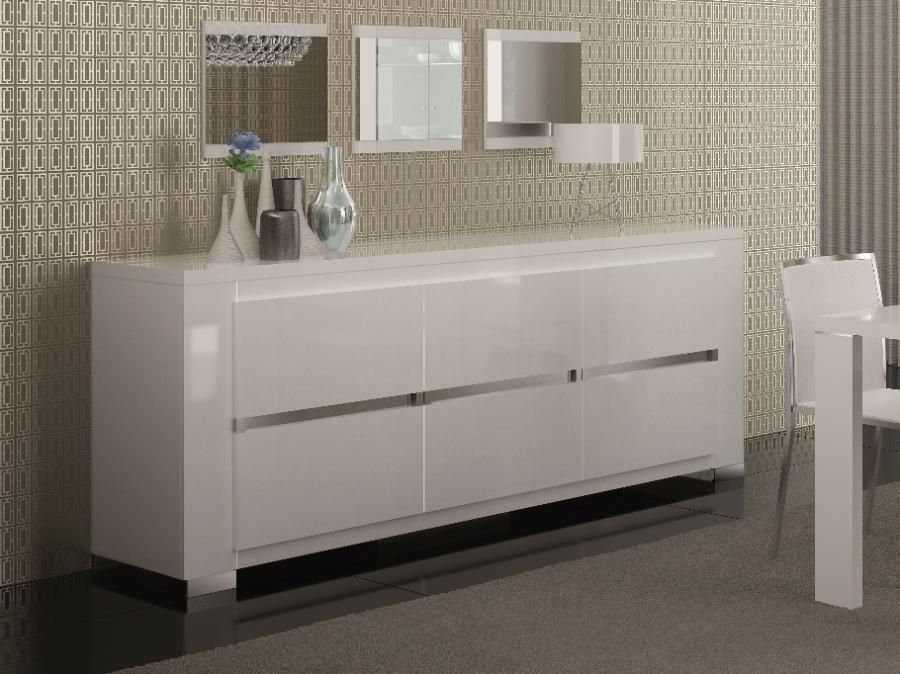 Very Modern Contemporary White With A Hint Of 'silver Ligning Adorable White Dining Room Cabinet Design Ideas