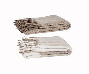 2 Plaids à franges tissu, marron et crème - 125*150