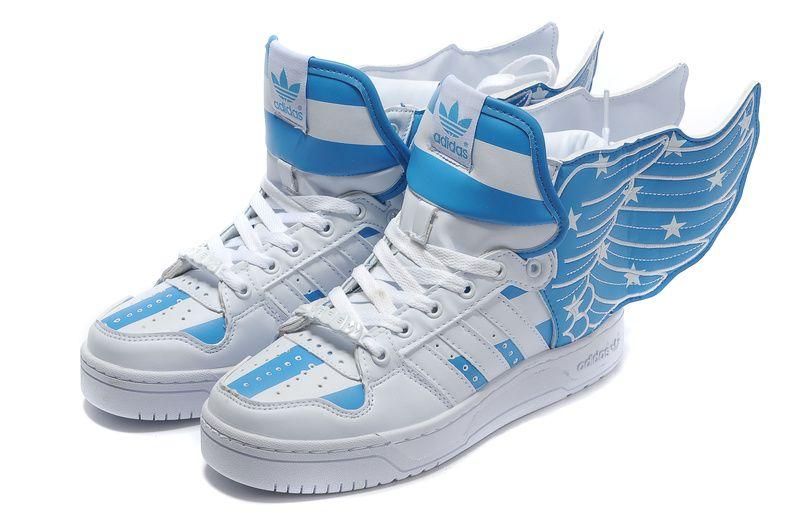 adidas jeremy scott è bandiera blu e scarpe bianche ali air force