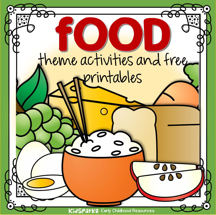 Food theme activities, centers, printables and games to