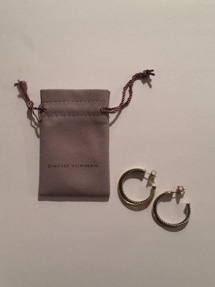 David Yurman Crossover Hoop Earrings With 18k Gold