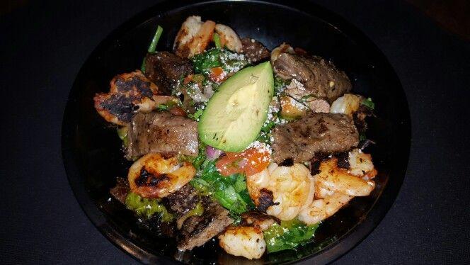Steak and Shrimp Quinoa Power Bowl for dinner tonight at Mestizo Restaurant.