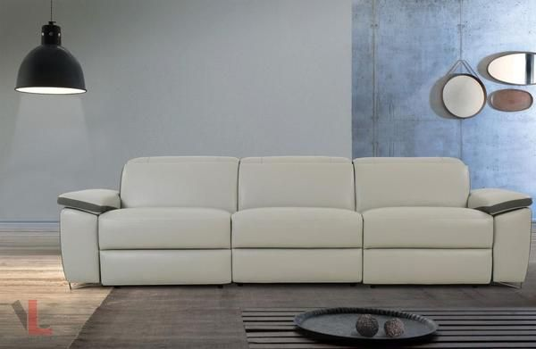 Aura Top Grain Leather Light Grey Power Reclining Sofa Sofa Sectional Leather Recliner With