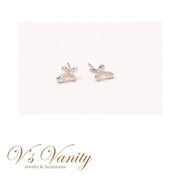 Small CZ Silver Cross R.Stone Stud Earrings $10.00 Buy it today at www.vsvanity.com