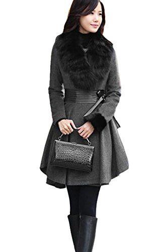 TM winter women's woolen jacket Slim fit wool Big Hem Ruffle coat collar jacket - List price: $99.99 Price: $42.16