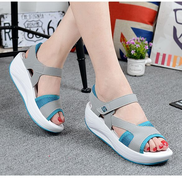 Blue leather velcro fastening rocker bottom shoe sandal Blue leather velcro fastening rocker bottom shoe sandal,