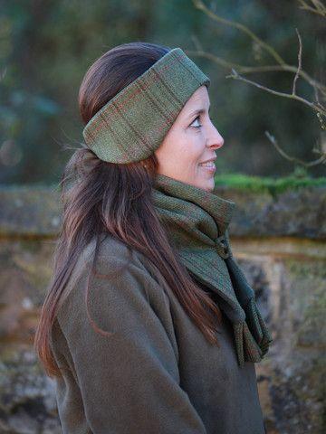ClassicTweed Headband - Olive & Raspberry Check