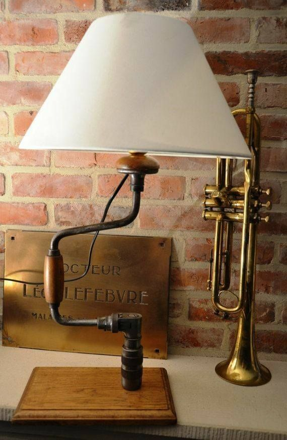 Lampe Industrial Design Vintage Hand Drill Lamp...... | Upcycled Products And