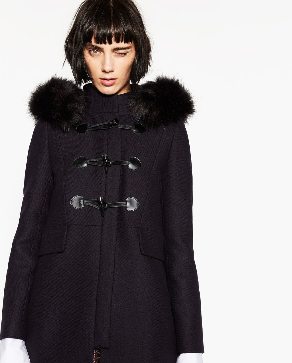 manteau femme noir avec col fourrure noir vestes la. Black Bedroom Furniture Sets. Home Design Ideas