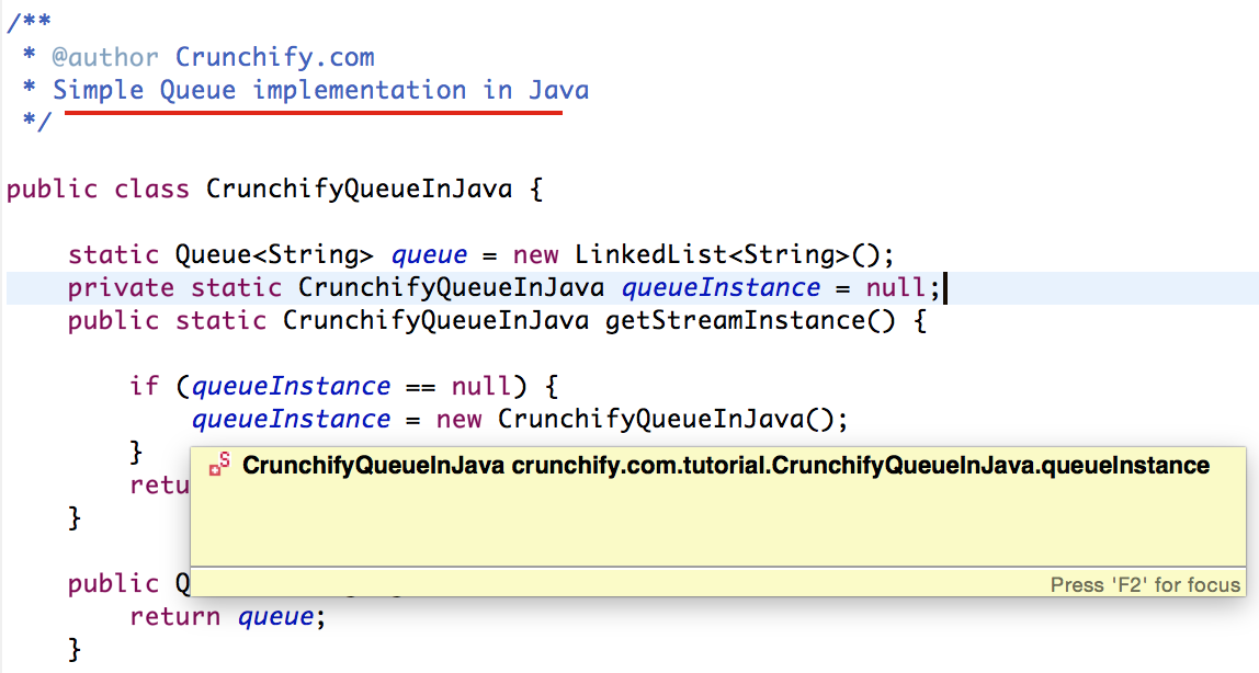 How To Create Singleton Queue Global Object Fifo First In First