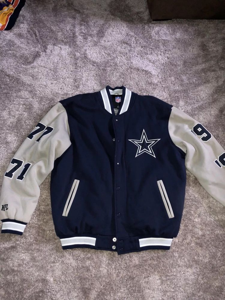 f3fae376e3eb73 Dallas Cowboys NFL 5 Time Super Bowl Champion Commemorative Varsity JacKet  #GIII #DallasCowboys