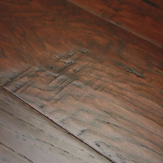 Hickory coffee 3 8 x 5 hand scraped engineered hardwood for Hand scraped wood floors