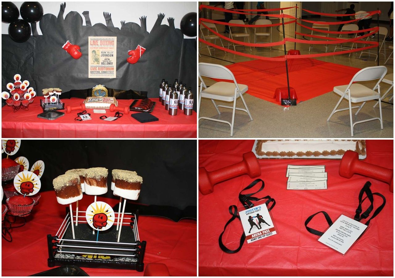 Boxing fight party ideas boxing glove party favors boxing for Boxing bedroom ideas