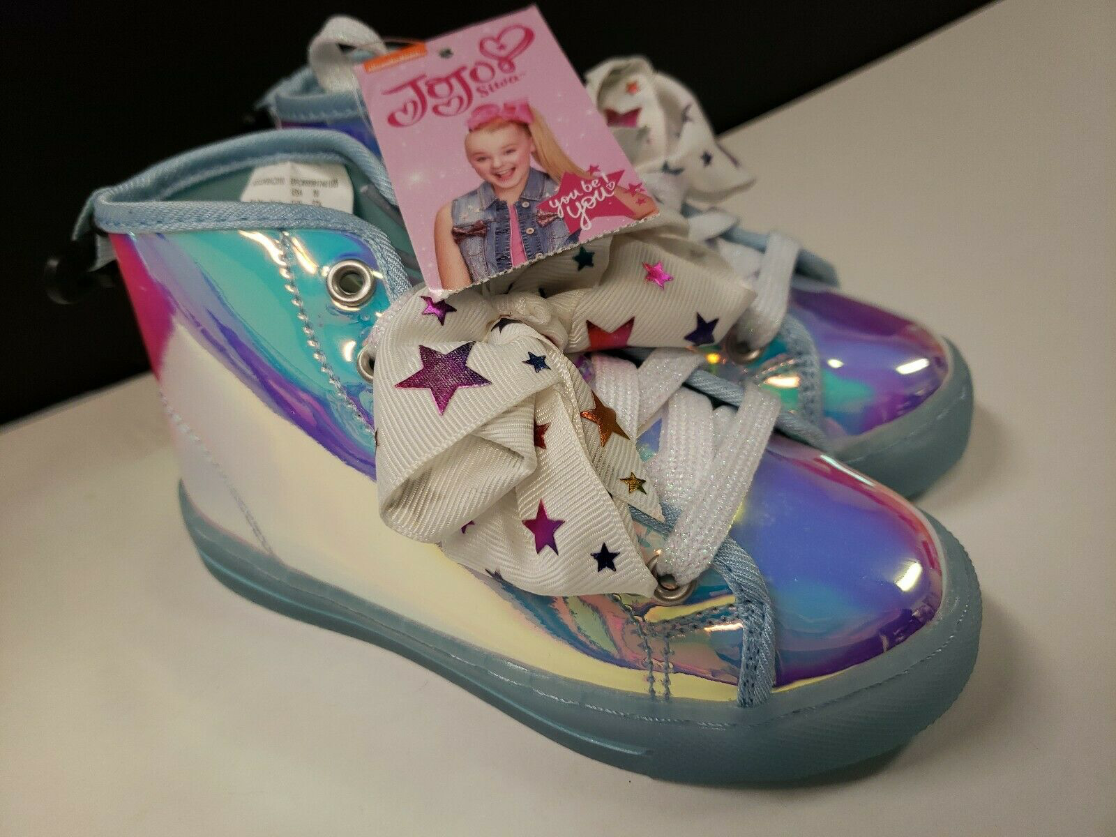 NWT Jojo Siwa Iridescent Bow Shoes High