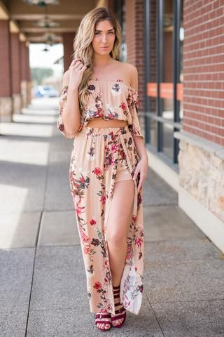 65ca8323fef In The Caribbean Floral Off The Shoulder Crop Top And Cinched Waist Maxi  Skirt Set (Blush)