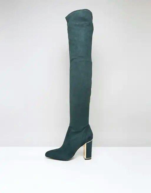 9246f9c6807 River Island Ri Studio Dark Green Over The Knee Boots | Knee high ...