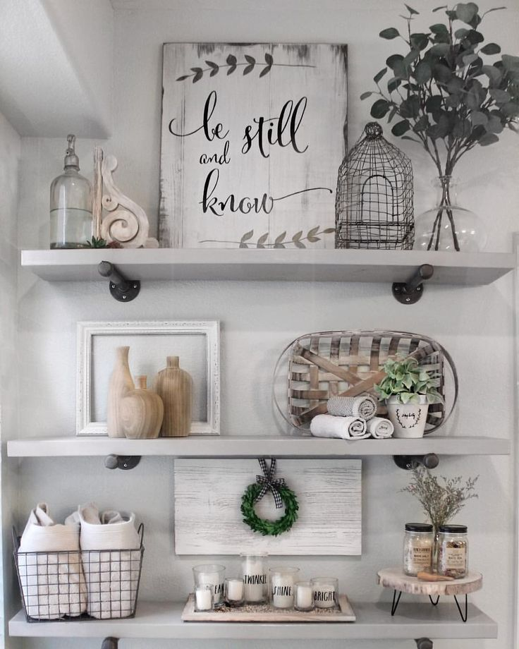 How to style bathroom shelves. Farmhouse shelf decor. DIY bathroom shelves. A.cozy.blessed.nest images