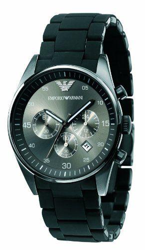ff057ed6e3d Emporio Armani Men s AR5889 Sport Chronograph Silicone Accent Black Dial  Watch Emporio Armani