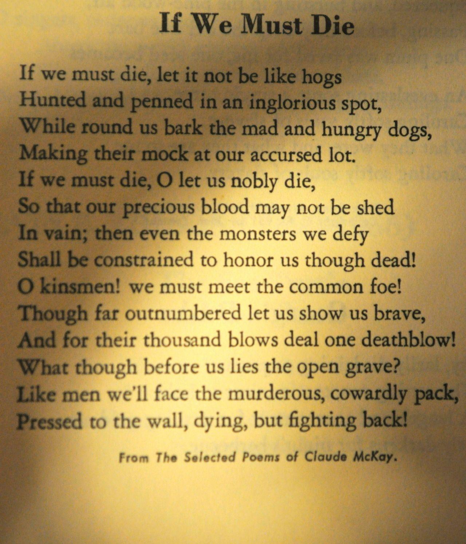 the poem if we must die