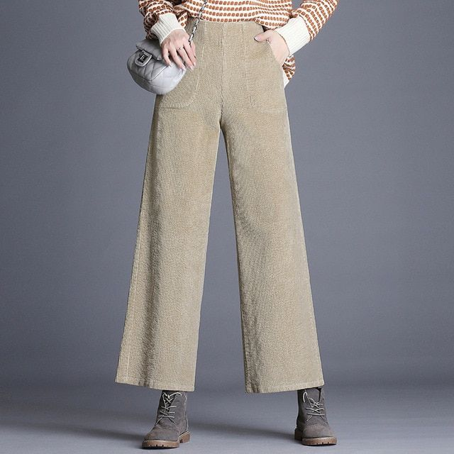 32f1789a3a8ec Corduroy pants women wide leg pants trousers autumn winter 2018 new high  waist loose nine points