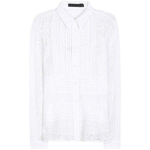 Burberry Prorsum Crochet-Knit Shirt (€1.080) ❤ liked on Polyvore featuring tops, crochet shirt, macrame top, burberry shirt, burberry and white crochet top
