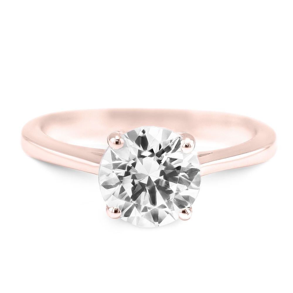 aa506d8eec7c5 18K Rose Gold Diamond Engagement Ring - 1.1 CT Round Brilliant G SI1 ...