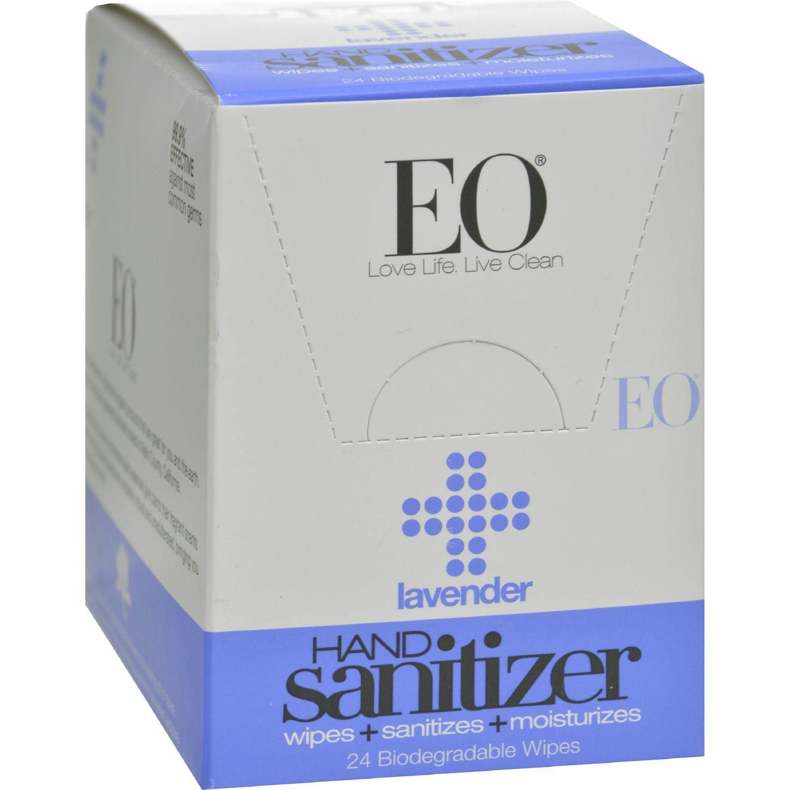 Eo Products Hand Sanitizer Wipes Lavender Case Of 24