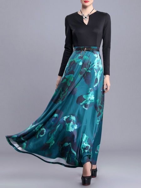 Printed Paneled Tulle Maxi Dress