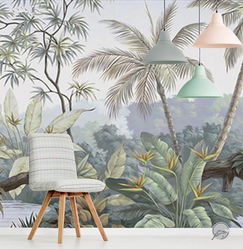 Oil Painting Tropical Rainforest Wallpaper Wall Mural