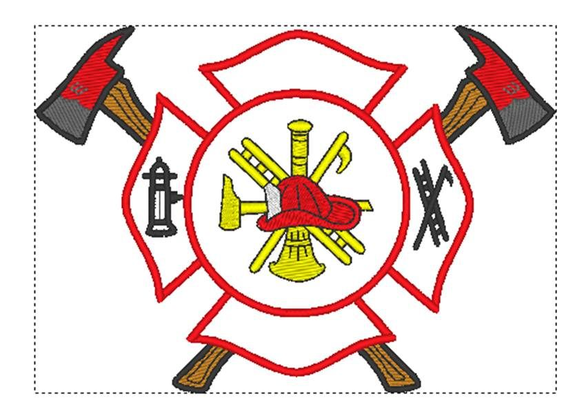 Maltese Cross With Axes Fire Equipment Shop Machine Embroidery