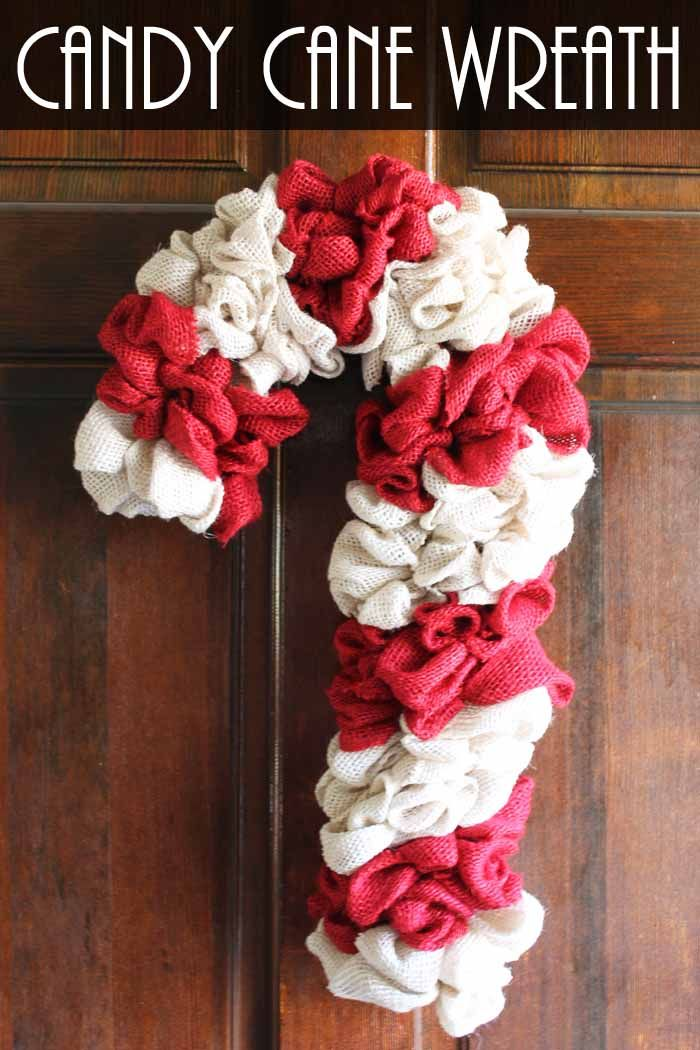 Candy Cane Wreath: Make Your Own From Burlap #candycanewreath