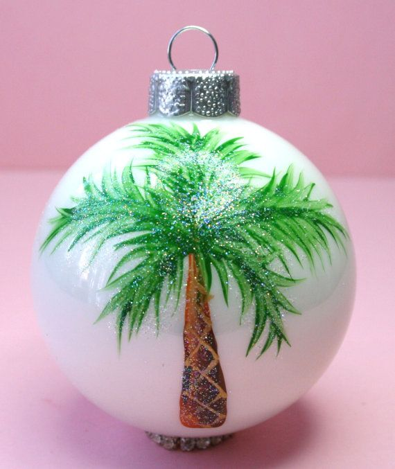 Palm Tree Ornament - Hand Painted Glass Ball Ornament ...