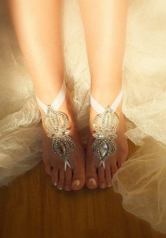 849caba28e4f1 Rhinestone anklet Beach wedding barefoot sandals by WEDDINGHome