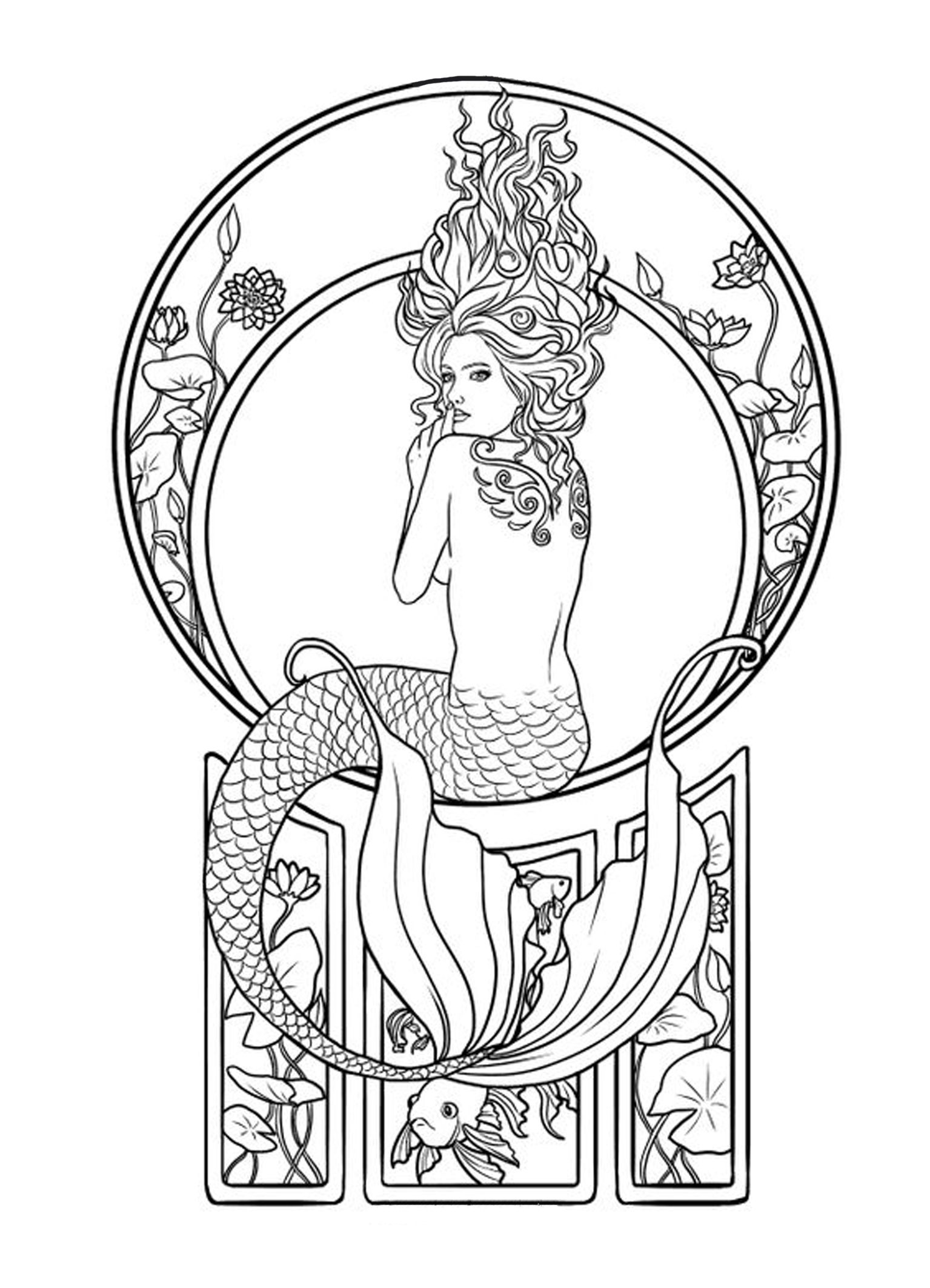 Tattoo Idea Mermaid Coloring Pages Mermaid Coloring Art Nouveau Tattoo