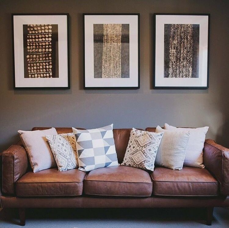 The Tan Leather Couch Looks Great With That Wall Colour Leather Couches Living Room Sitting Room Decor Brown Couch Living Room