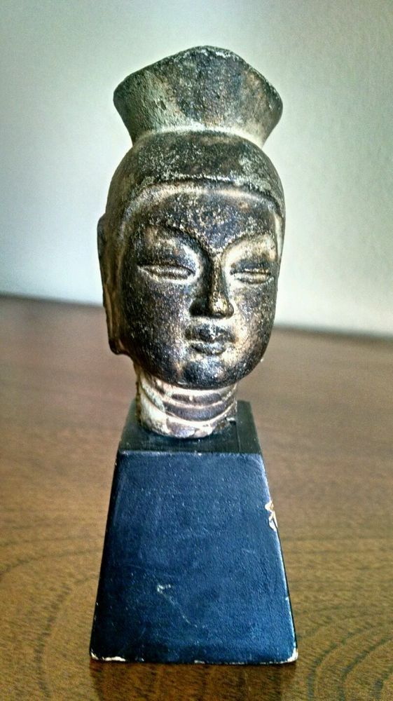 Bronze Japanese Buddha Head on Wood Block 1850-1899 Statues #Japanese