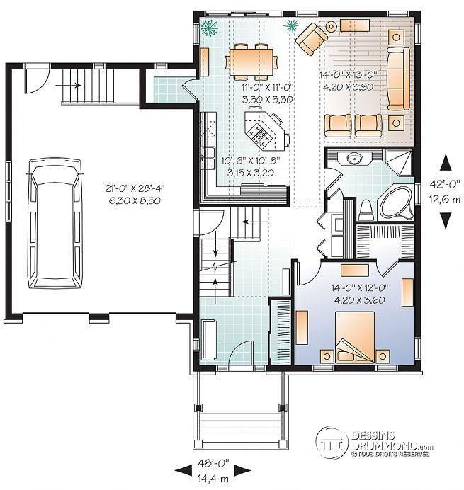 Plan de Rez-de-chaussée Plan de maison de style transitionnel