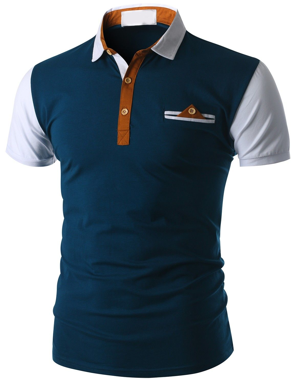 Doublju men 39 s short sleeve pocket polo shirt cmtts015 for Business t shirt design
