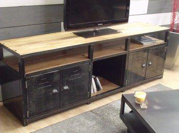 meuble loft - meuble tv bois et métal | meubles | pinterest | loft ... - Meuble En Fer Design