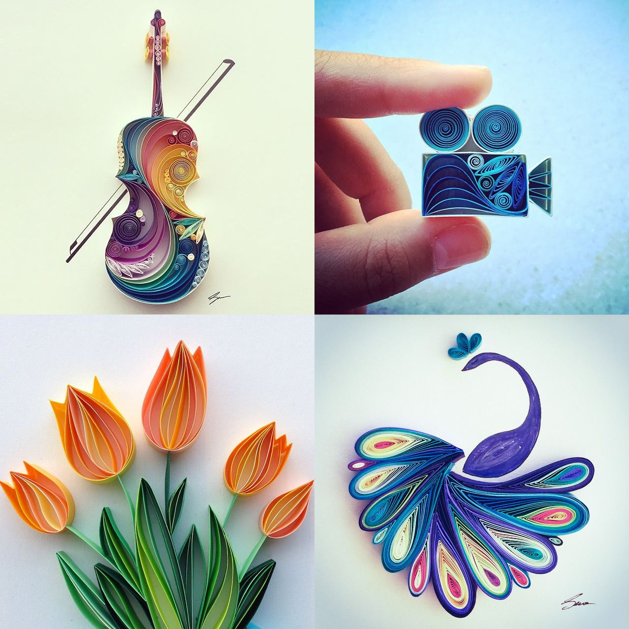 Colorful quilled paper designs by sena runa colossal for Paper quilling art projects